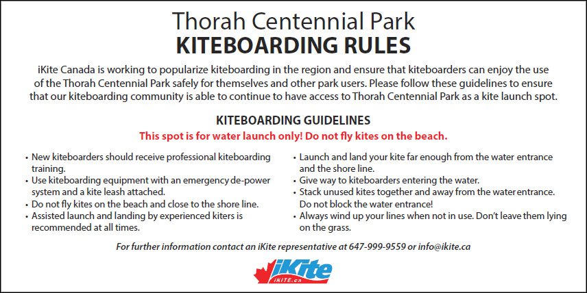 Thorah Centennial Park Kiteboarding Rules Sign